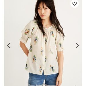 Madewell smocked button down floral top